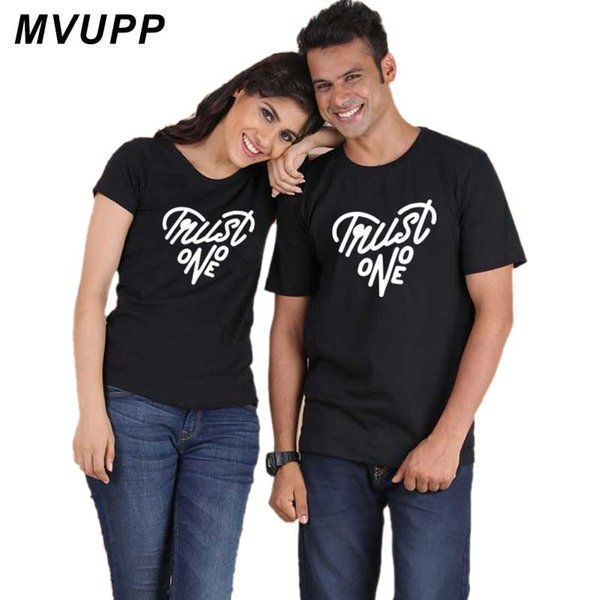 MVUPP korean style Couples Lovers Clothes funny t shirt women letter print Summer cotton beach tee tops TRUST ONE Girl Boyfriend