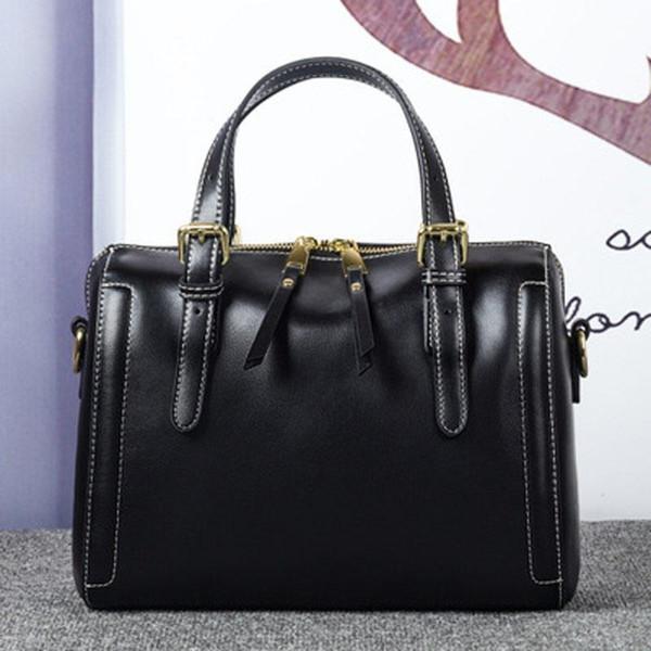 2019 new women's bag Korean fashion solid color handbag simple wild shoulder real leather handbag