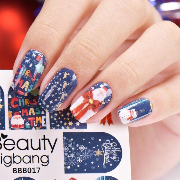 Prego 1sheet Xmas Adesivos Decal Natal Papai Noel dos cervos Manicure adesivos Nail Art Água Decoração Adesivo Beleza BigBang
