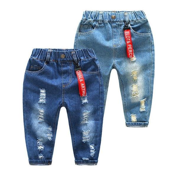 Meninos da criança Calça Jeans Roupa Dos Miúdos Primavera 2019 Crianças Calças Buraco Quebrado Baby Boy Cintura Elástica Calças Jeans Jean Garcon Enfant Y19062401
