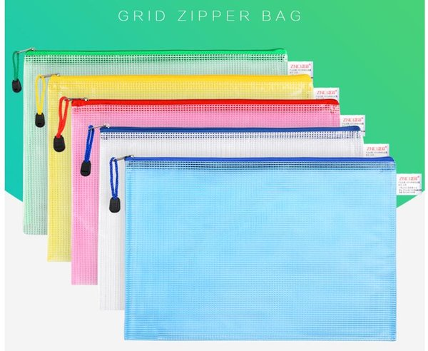 top popular Plastic quality section thick a4 transparent zipper grid file bag 2021