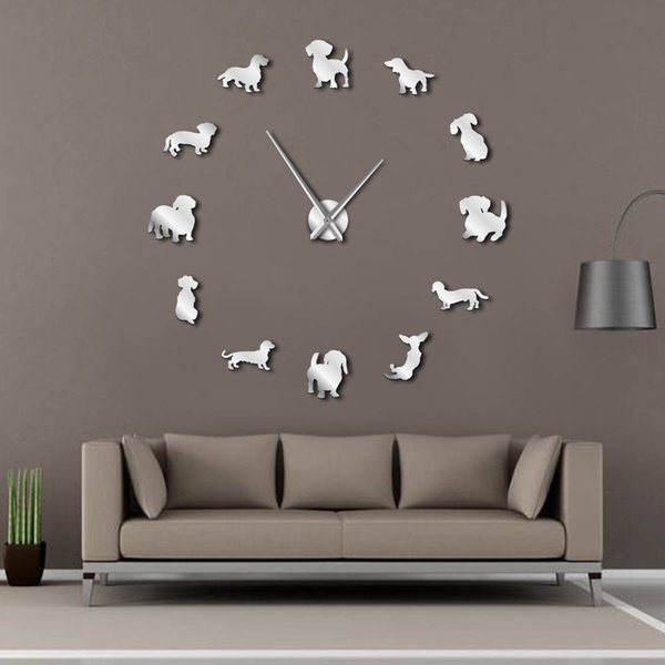 diy dachshund wall art wiener-dog puppy dog pet frameless giant wall clock with mirror effect sausage dog large clock watch