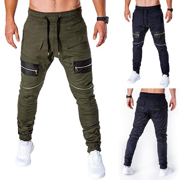 Homens Corredores Calças Esporte com Zíper Patchwork Solto Moletom Com Cordão Calça Verde Streetwear Plus Size M-3XL