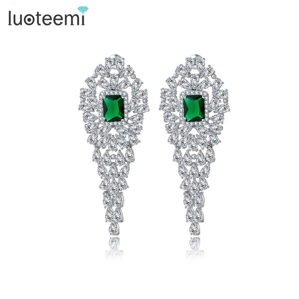 Luoteemi Statement Design Tiny Bright Cz Stone Long Drop Earrings Bridal Wedding Brincos Earrings Jewelry Bijoux T190626