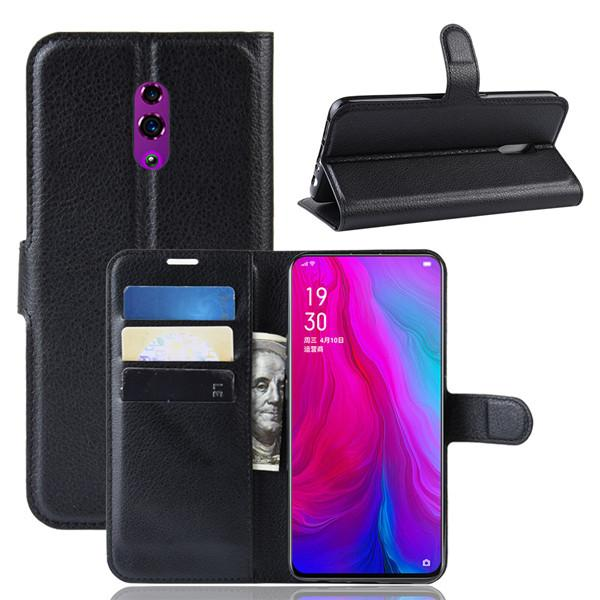 Flip Cover For OPPO Reno ,Litchi Pattern TPU+PU Leather Wallet Stand Case Cover for OPPO Realme C2 A1K