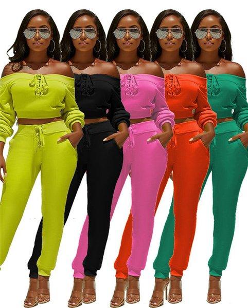 Conjunto de dos piezas de mujer Camisa de manga larga Crop top de otoño Cuello oblicuo Jersey de chándal Leggings Ropa deportiva Pantalones Bodycon Moda 1014