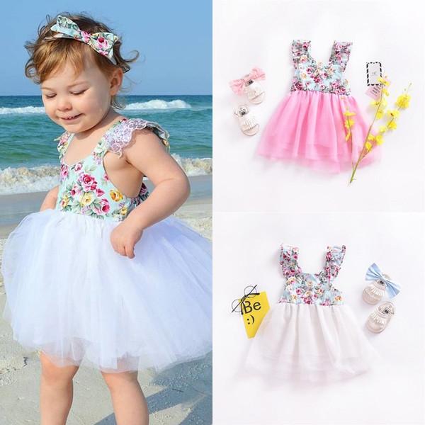 Baby Girl Summer Dress Floral Printed Patchwork Lace Flutter Sleeve Mesh Dress V Back Cross Strap Beach Dress