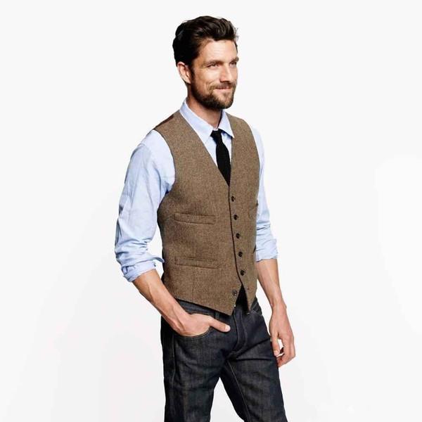 Fashion Brown tweed Vests Wool Herringbone British style custom made Mens suit tailor slim fit Blazer Single Breasted wedding suits for men