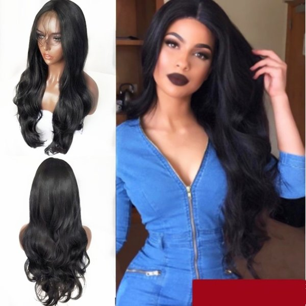 Natural Hairline Glueless Black Body Wave Synthetic Lace Front Wigs with Baby Hair Heat Resistant Fiber Long Wavy Wig For Women 180% Density
