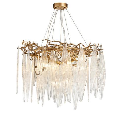 Nuevos diseños de tira larga de cristal colgante led lámparas de araña posmodernas villa artística de cobre luces de araña lámparas accesorios de iluminación