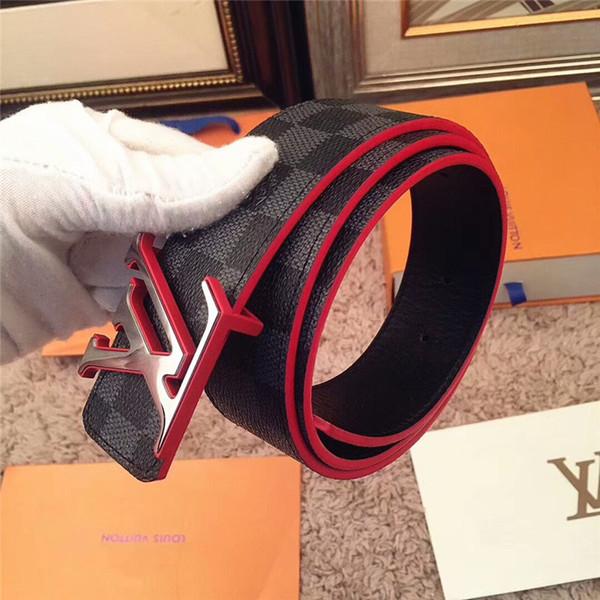 andy_fashion / 2018 hombres de moda cinturón de calidad superior famoso cinturón Aolly lisa hebilla hombres alta calidad negro diseño de cuero genuino cinturones
