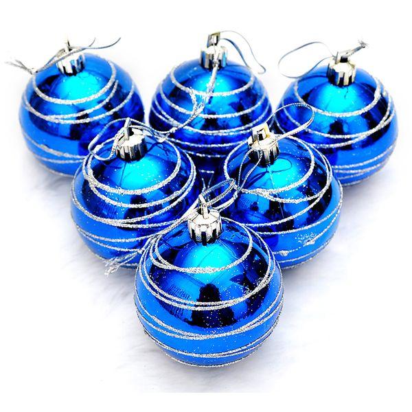 6pcs arbre de Noël Boules Diamètre 6cm couleur rayé dessin Décorations Boule de Noël Ornement Party de mariage