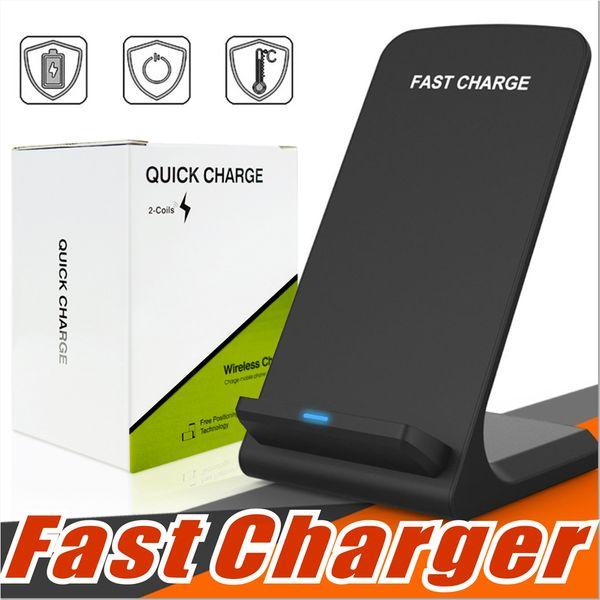 2 bobinas Cargador inalámbrico rápido Qi Pad de soporte de carga inalámbrica para Apple iPhone X 8 8 Plus Samsung Note 8 S8 S7, todos los teléfonos inteligentes habilitados para Qi