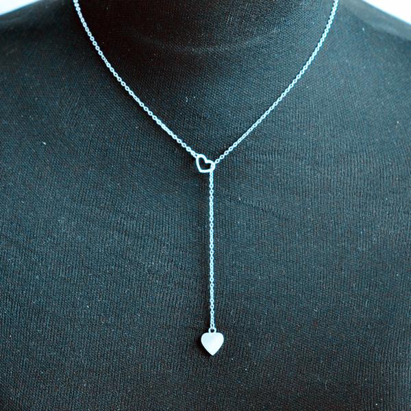 2019 Venta Caliente Encanto de la Mujer Collar de Cadena Colgante de Corazón de Acero Inoxidable Bijoux Acier Inoxydable Femme #ZH