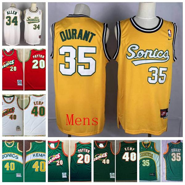 2020 баскетбольного Урожай SeattleSupersSonics Мужчина Ray 34 Allen 20 перчаточном Пэйтон 35 Дюрант 40 Reign Шон Кемп прошитой Рубашки