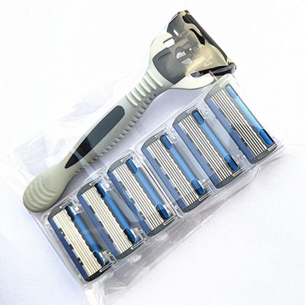 6-Layers Shaver Razor=(1 Razor Holder + 7 Blades Head) Cassette Shaving Razor Set Blue Body Face Hair Removal Knife Women Men D19011606