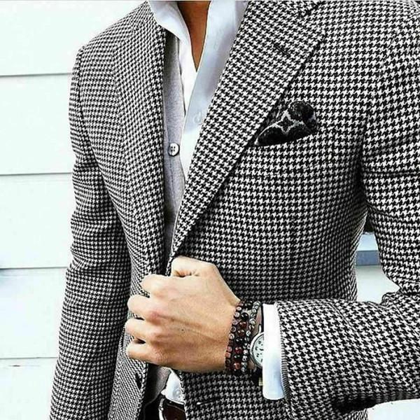 Yün Ekose Erkekler smokin Damat Düğün Suit İki Düğme Slim Fit En İyi Erkek Giyim Peaked Yaka Uyarlanmi Blazer Suit Only One Ceket