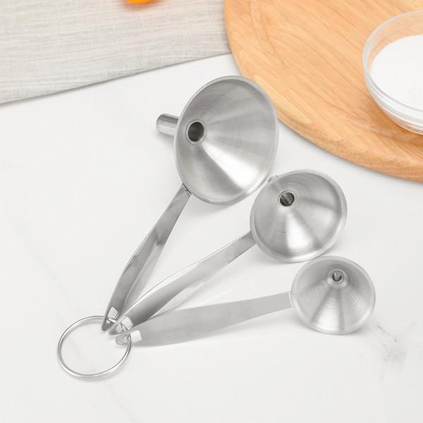 3 Teile / satz Mini Edelstahl Trichter Weinflasche Bier Flüssigen Trichter Kleine Mund Öl Trichter Kitchen Bar Werkzeuge