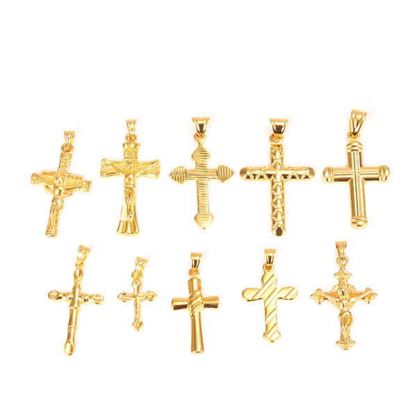 crucifix jesus Bangrui 10 styles Cross Crucifix Jesus Piece Pendant Necklace fashion Yellow Color Men Chain Christian Jewelry Christmas Gift