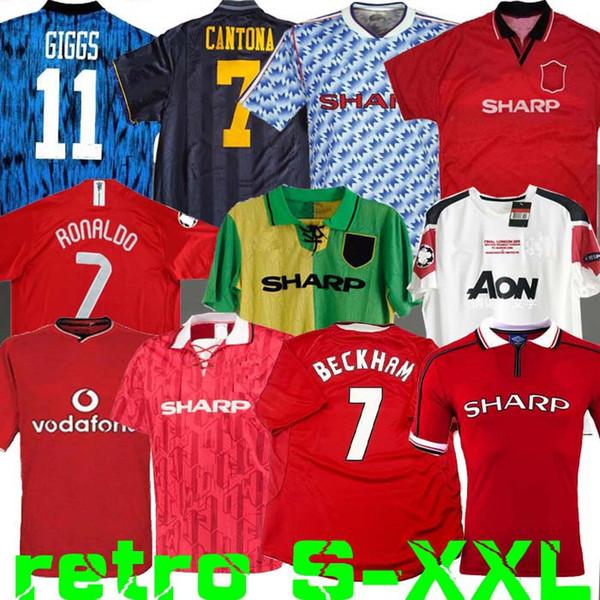 Retro Version 2002 United Soccer jersey finals football Giggs SCHOLES Beckham RONALDO 98 99 CANTONA KEANE Solskjaer 1994 07 08 Manchester 96