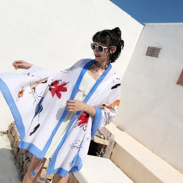 Cotton Silk Scarf Women Fashion Printed Parrtern Boho Tassel Decor Long Scarves Shawl Ladies Summer Beach Wrap Foulard