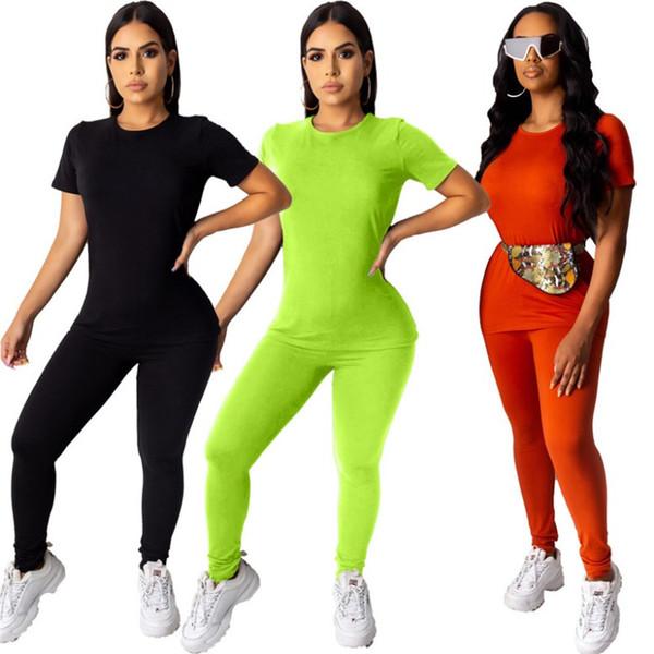 Women tracksuit shirt trousers women tops tees pant pullover legging short sleeve pantsuit 2 piece set solid women clothes klw2020