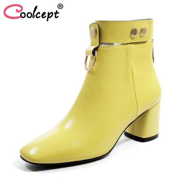 Coolcept mujer botas de tacón alto botines de cuero real mujer zapatos de invierno moda remaches de lujo para mujer calzado tamaño 34-42