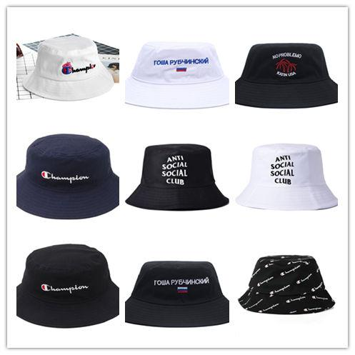 7685f14122f5a caps sales Promo Codes - New Hot Champion Bucket Hat For Men Women Foldable  Caps Black