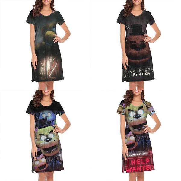 Womens design printing Five Nights At Freddy's freddy black white lounge shirt dress superhero friends slogan loungewear cute family 4
