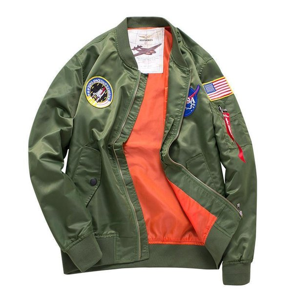 WholeTide Nice Armband Decoration Face Jackets Men Embroidery Technology MA1 Pilot Jackets Hypertrophy Code Mens Designer Jackets