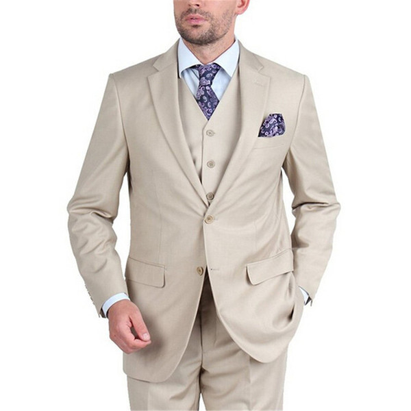 Custom Made Groom mens suit Tuxedo Beige Groomsmen Notch Lapel Wedding men suits for wedding (Jacket+Pants+Tie+Vest)