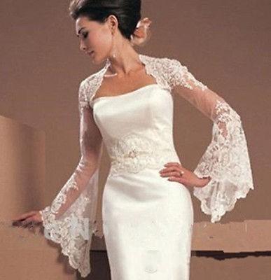 2020 Bridal Bolero Jacket Shawl White Ivory Trumpet Long Sleeves Cheap Sexy Lace Appliques Illusion Open Back Formal Bridal Wraps Plus Size