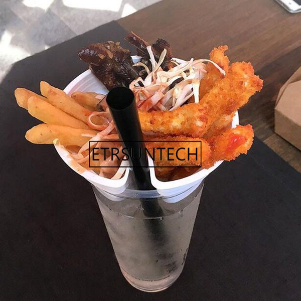 best selling 500pcs Snack Cup Holder Creative Fried Chicken Fries Popcorn Cups Holder Disposable Cold Drink Milk Tea Plastic Tray