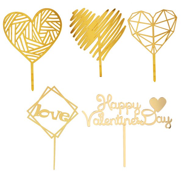 5 pcs/Set Cake Toppers Novelty Golden Acrylic Valentines Day Cake Picks Cupcake Decor for Engagement Party Wedding Decoration