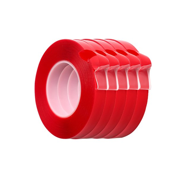 5 pcs 3 m Vermelho Dupla Face Fita Adesiva de Alta Resistência Acrílico Transparente Sem Traços Etiqueta Para O Interior Do Carro Auto Fixo SH190727