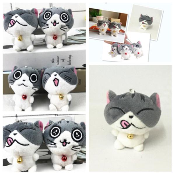 Nuova moda formaggio gatto peluche del fumetto della peluche catena chiave animale 8 cm bella borsa ciondolo portachiavi per bambini Favore di partito T2G5018