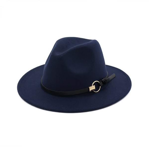 European Wide Brim Cowboy Felt Hat Panama Trilby Jazz Fedora Hats with Leather Buckle Plain Ribbon Woolen Chapeau for Women