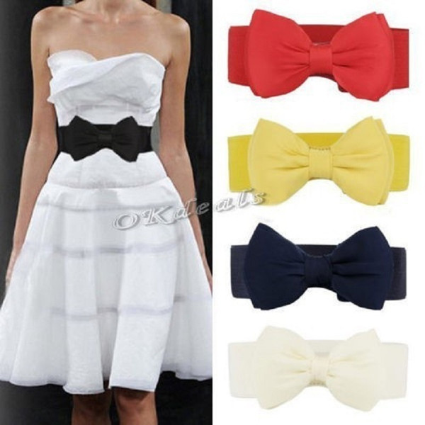 Okdeals Designer brands Fashion white Elastic Bow Wide Stretch leather harajuku Style Belt for dresses Women C19010301