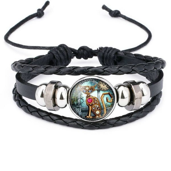 Steam Punk Cat Leather Bracelets Gear Wheel Clock Bracelets Cat Gifts For Boys Men Women Girls Drop Shipping Thanos