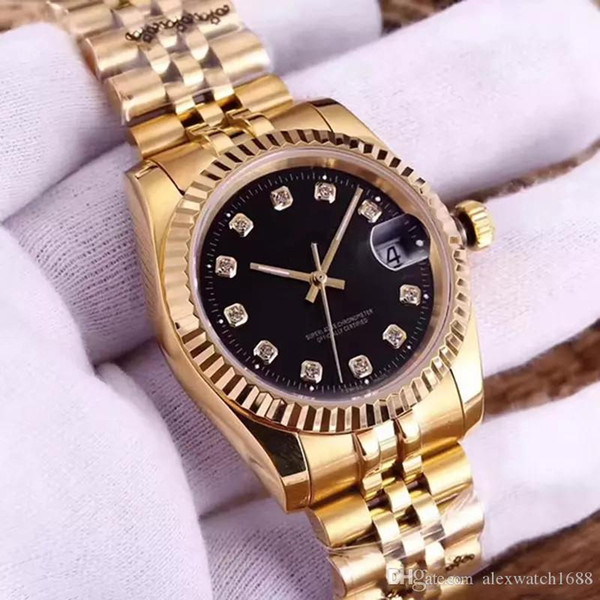 Women Watch Diamond Automatic Movement R0910 Ladies Montre Date Wristwatches Just Style Clock 316L Stainless Steel Sapphire 36mm Dial