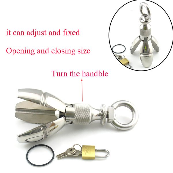 650g Big Expansion Stainless Steel Stretching Dilatatore anale Plug W / lock, blocco Butt Plug, estensione anale Giocattoli Dilator Ball anale Y19070302