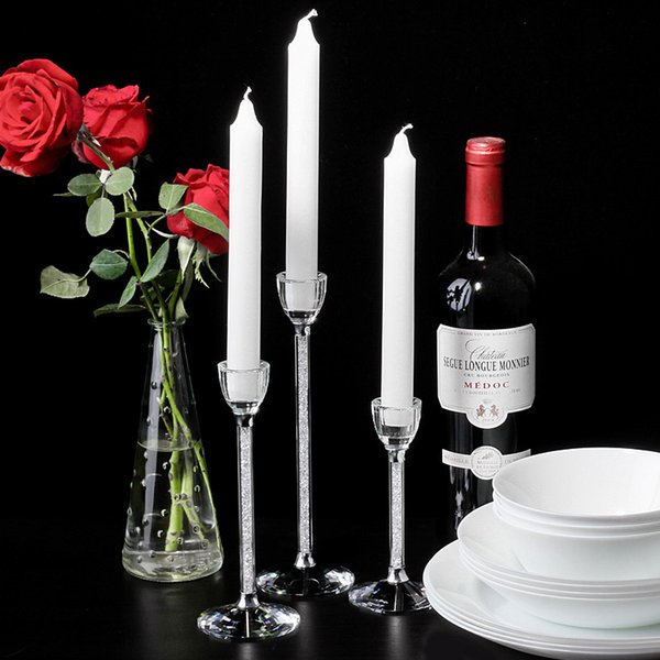 3pcs/Set Wedding Creative Party Candle Holders Personalized Wedding Centerpieces Glass Crystal Candlestick Living Room Home Decoration
