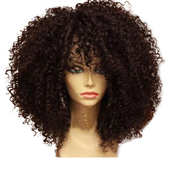 Sans colle brésilienne cheveux remy afro Kinky bouclés perruque avant de lacet préplumée perruque de fermeture de couleur naturelle pour les femmes noires 180% fin complète