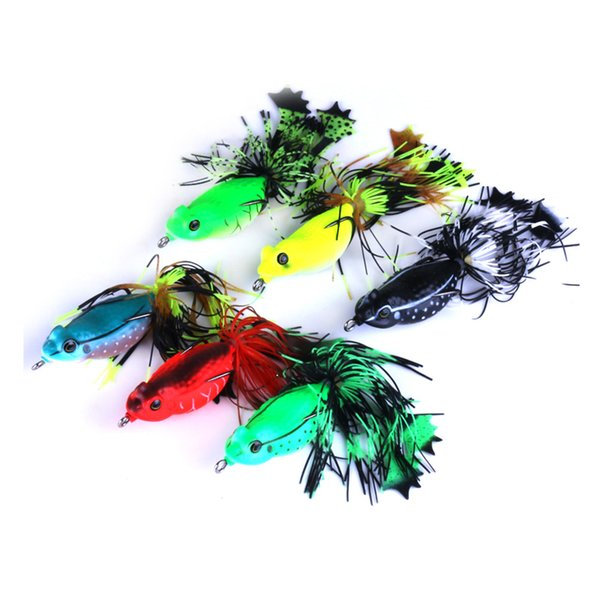 1pc Fishing Tackle Fishing lure Soft Plastic Boxed Fishing Frog Lures with Skirt Feather Hook Topwater Artificial Fish Bait 5.5cm 13g