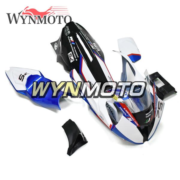 Carreras de motos Fibra de vidrio Completa Azul Negro Carenado de la motocicleta Kit de carenado para BMW S1000RR 2015 2016 15 16 paneles