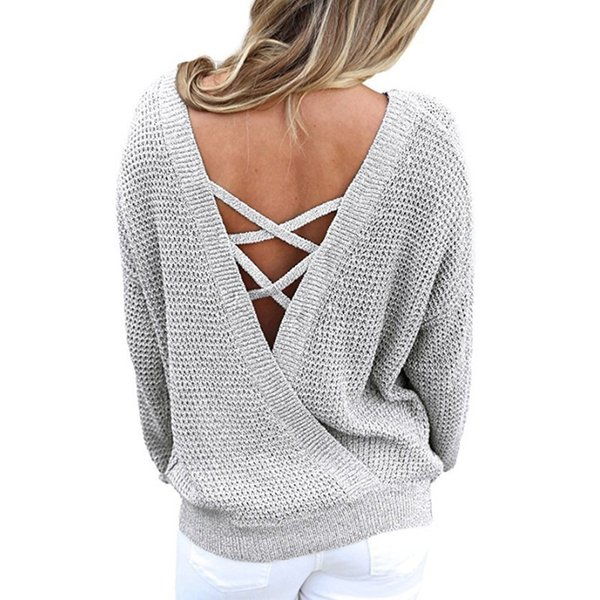 zadorin autumn korean style women pullovers solid long sleeve backless criss cross knitted sweater casual streetwear black