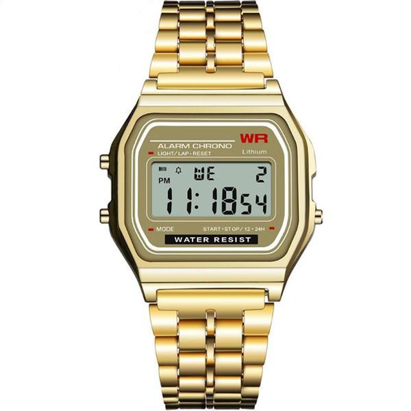 SYNOKE lumineux rétro petite montre en or tendance de la mode montre électronique alliage carré avec montre modèles hommes et femmes