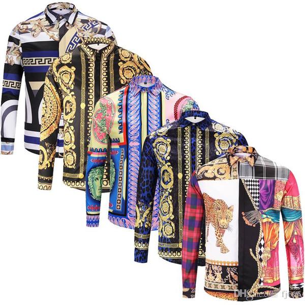 Brand New manches longues de la mode des hommes de chemises habillées de soie coton hommes slim fit luxe chemises sport chemises Medusa