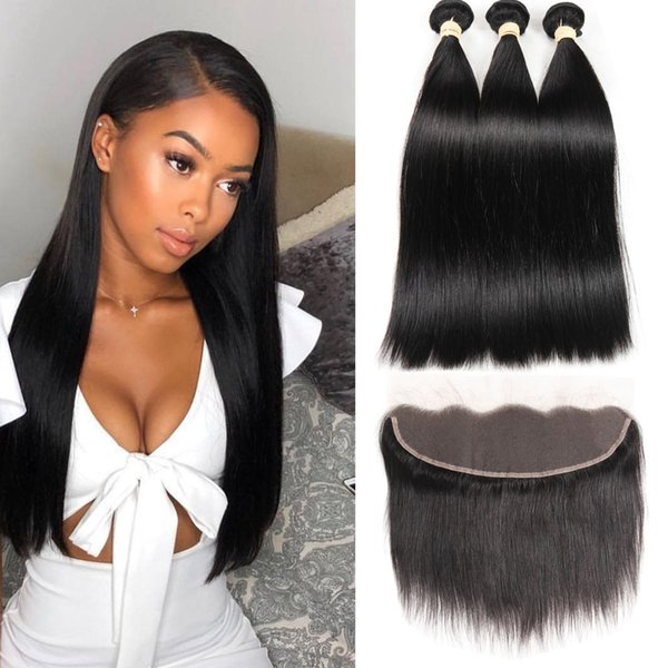 Brazilian Virgin Straight Hair Bundles With Frontal Non-Remy Human Hair Bundles With Closure Brazilian Hair Weave Bundles With Closure
