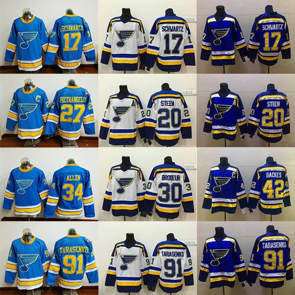 new arrival 13ad0 8b0d8 2019 St. Louis Blues Jersey 91 Vladimir Tarasenko 90 Ryan O'Reilly 50  Binnington 27 Alex Pietrangelo 17 Schwartz 34 Jake Allen RBK Hockey Jerseys  From ...